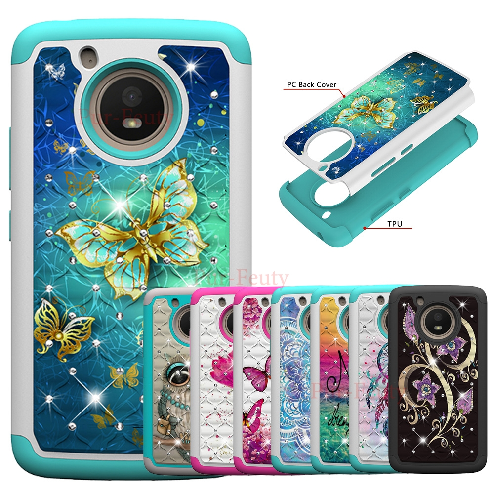 <font><b>Case</b></font> for Motorola <font><b>Moto</b></font> <font><b>E4</b></font> XT1762 XT1767 <font><b>XT1761</b></font> Glitter Girls Bling Diamond Flower Dual Layer PC For <font><b>Moto</b></font> E 4th Gen XT1763 XT1764 image