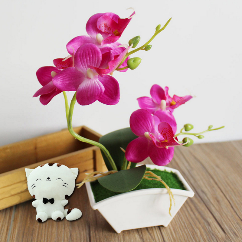 Orchid artificial flower butterfly orchid fake flowers for Artificial leaves for decoration
