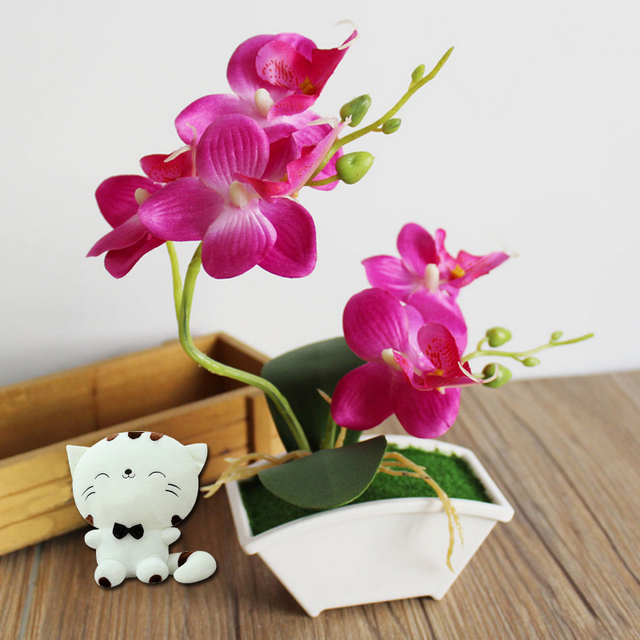 Orchid artificial flower butterfly orchid fake flowers real touch orchid artificial flower butterfly orchid fake flowers real touch green leaves plants silk flowers diy home mightylinksfo
