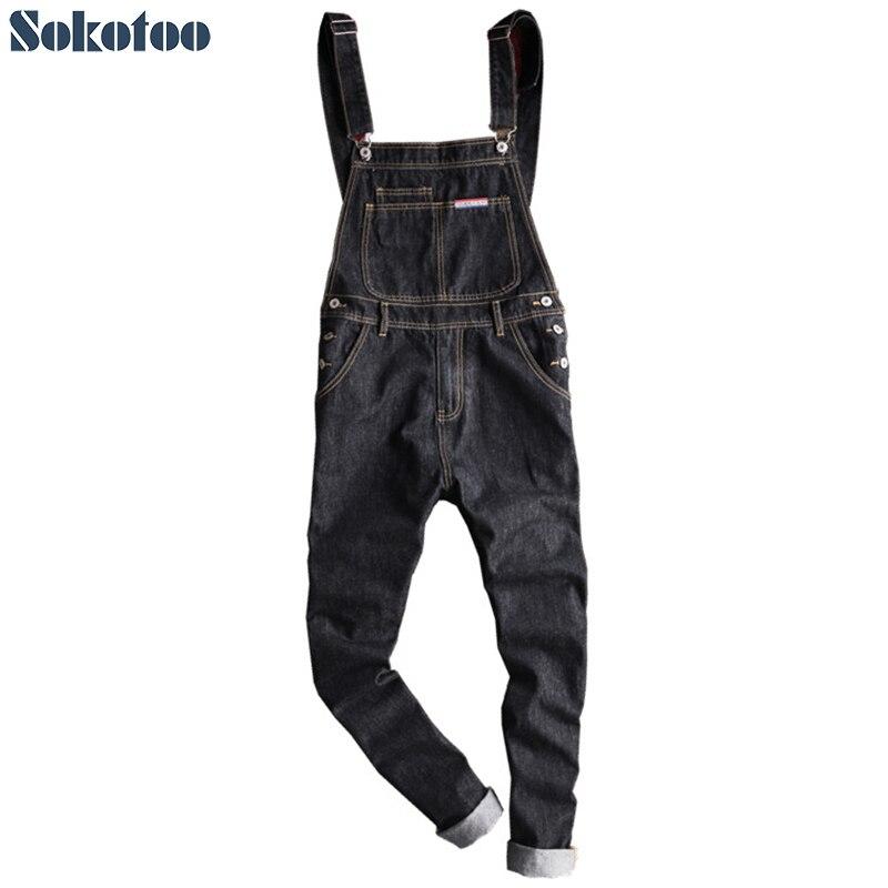 Sokotoo Men's slim patch pocket denim bib overalls Casual black suspenders jumpsuits   Jeans