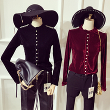 Tops Limited Sale Polyester Spandex Blusas Femininas 2017 New Velvet Bottoming Shirt Slim Badges Pearl Single-breasted Female