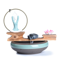110/220V Backflow Incense Burner Ceramic Yoga Goddess Wooden Base Water Fountain Office Art Fish Tanks Purifying Air Decoration