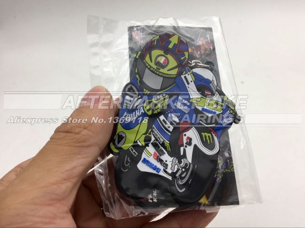 2016 New Keychain MotoGP Rossi VR46 Keyring Rubber Motorcycle NO 46 Emblem key Ring for Valentino