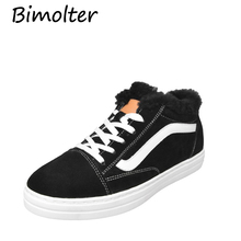 Bimolter Cow Sude Flats with Warm Natural fur Fall Winter Foot wear Lace up Girl Casual Shoes  Female Big Size NA001