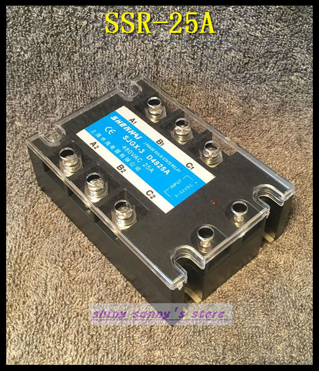 1Pieces SSR-25A 25A 480VAC Three Phase 3 Phase DC AC Solid State Relay Brand New normally open single phase solid state relay ssr mgr 1 d48120 120a control dc ac 24 480v
