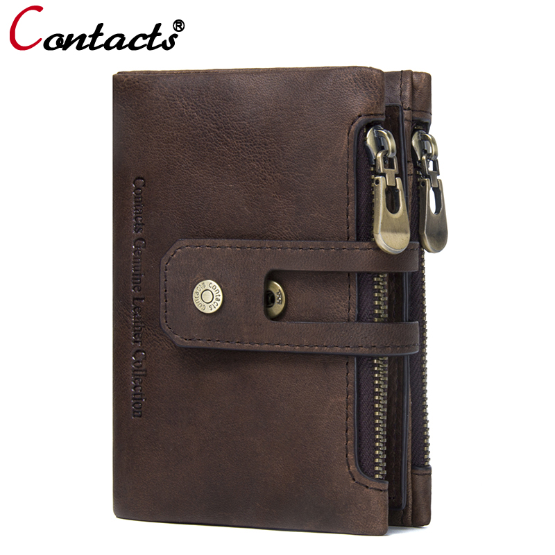 CONTACT'S Genuine Leather men wallets Small wallet Men Walet Zipper&Hasp Male Coin Purse card holder Brand leather wallet clutch