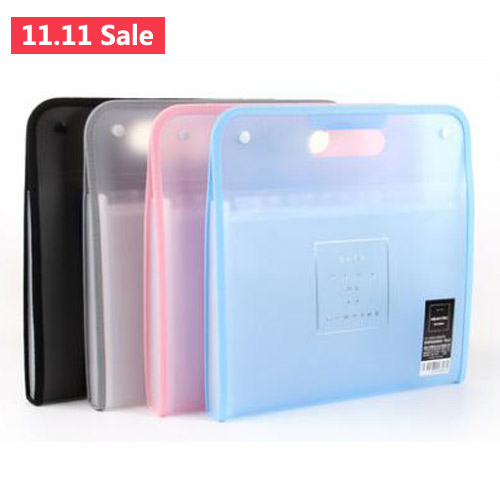 Snap Closure Folder A4 13 Layer Fichario Translucent Scrub Simple Style File Folder Office Shool Filing Products
