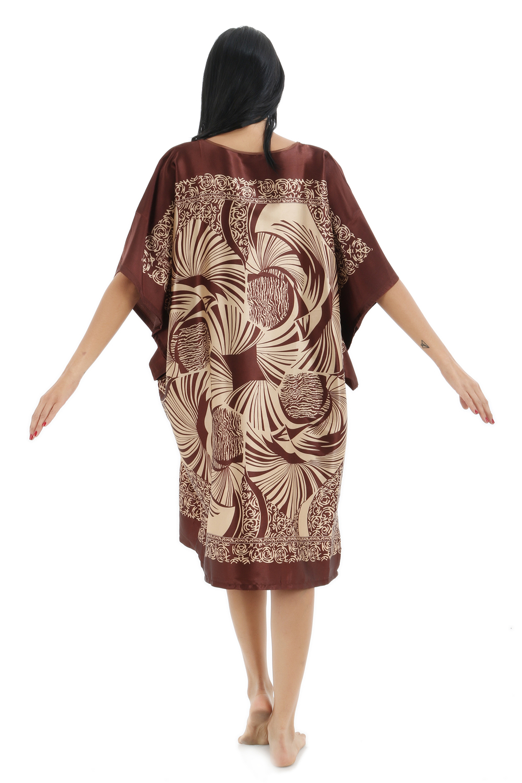 b250f8c89494 New Coffee Women s Sexy Satin Nightwear Nightgown Plus Size Leisure Loose  Nightdress Lady Summer Casual Sleepwear Night Dress -in Nightgowns    Sleepshirts ...