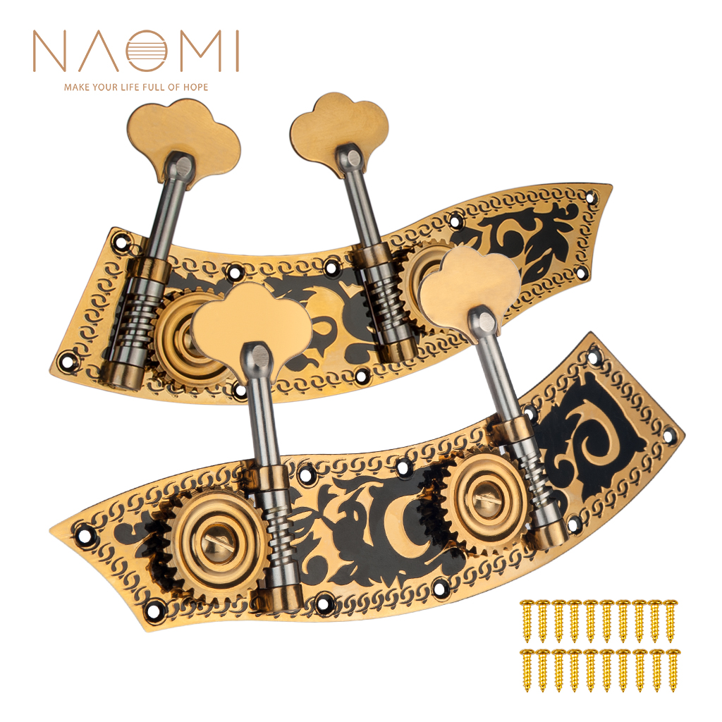 NAOMI 4 4 Plate Machine Heads W 2 Tuning Pegs Each Bass Machines W Carving Flower