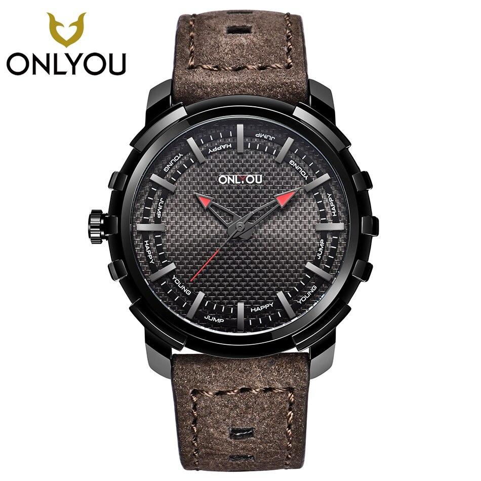 ONLYOU hommes Sport montres grand cadran militaire Cool montre-bracelet créatif Top marque luxe bracelet en cuir montre à Quartz horloge décontractée garçon