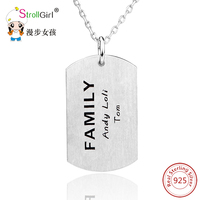 925 Sterling Silver Engrave Custom Dog Tag Necklace Pendants & Necklaces For Women Rectangle Pendants Military Army ID Tag Chain