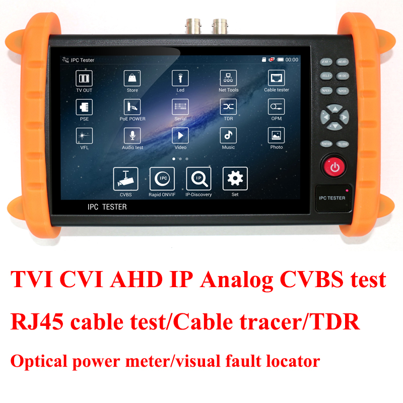 7 inch TVI CVI AHD IP camera tester Analog CVBS CCTV tester with cable tester, TDR ,Optical power meter, Visual fault locator 7 ip camera cctv tester poe wifi dm optical power meter visual fault locator tdr sdi ipc 8600movts