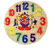 New wooden toy Big ugly clock Children's educational toys Free shipping