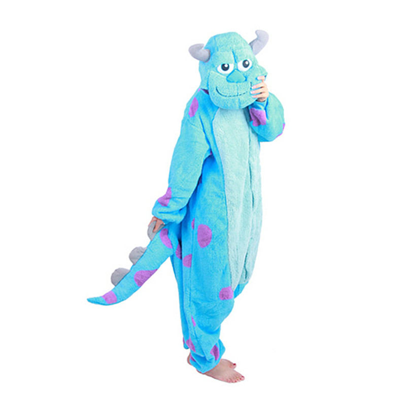 Monsters University James P. Sullivan Rompers Pyjama Jumpsuit Hoodies Volwassenen Cosplay Kigurumi-kostuums