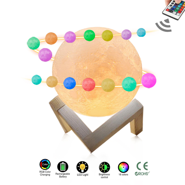 DC 5V USB Rechargeable 3D Print Moon Lamp Smart Touch Switch magical led moon light Withe/Yellow/16 Color RGB Led moon Night
