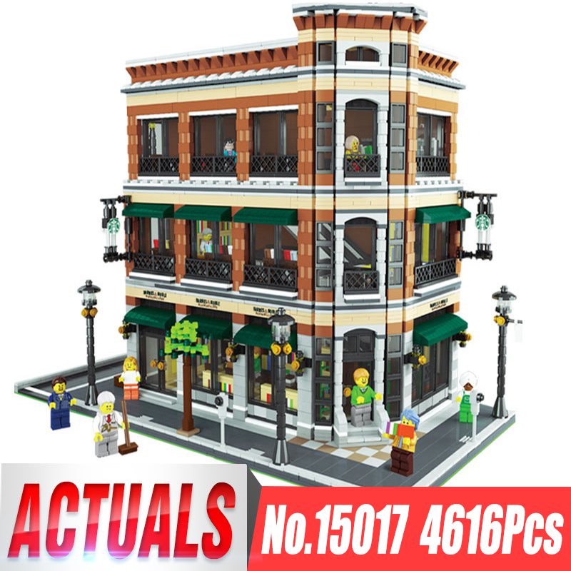 Lepin 15017 4616Pcs Creator Expert Starbucks Cafe Bookstore Model Building Kits Birthday Toy Compatible With Legoing 10243 a toy a dream lepin 15008 2462pcs city street creator green grocer model building kits blocks bricks compatible 10185