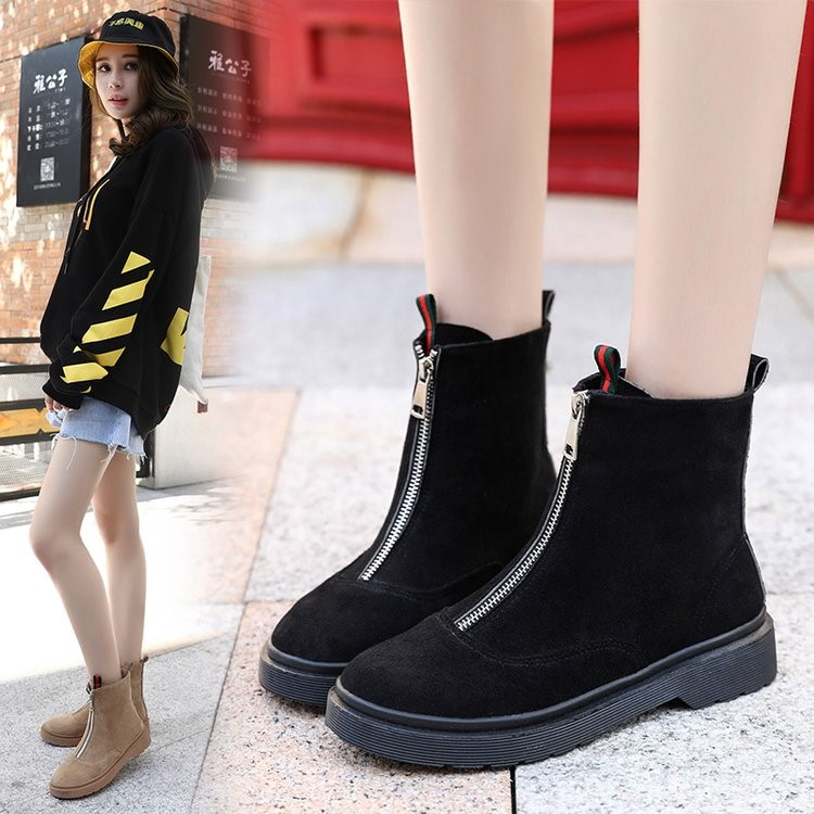 2018 new Martin boots female British wind tube Korean version of the wild ankle boots winter boots. 2