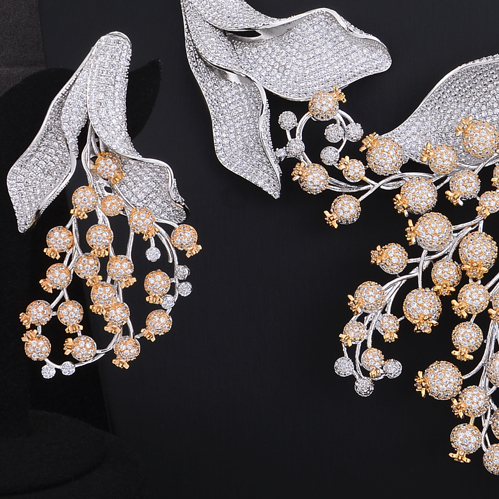 GODKI Super Luxury Poppy Flower African Cubic Zircon CZ Nigerian Jewelry sets For Women Wedding Indian
