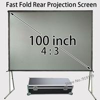 80x60 дюймов для просмотра Размеры 4:3 обратной проекции Экран быстро складной Рамки с футляр для Бизнес