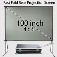 80x60inch Viewable Size 4:3 Rear Projection Screen Fast Folding Frame With Travel Case For Business
