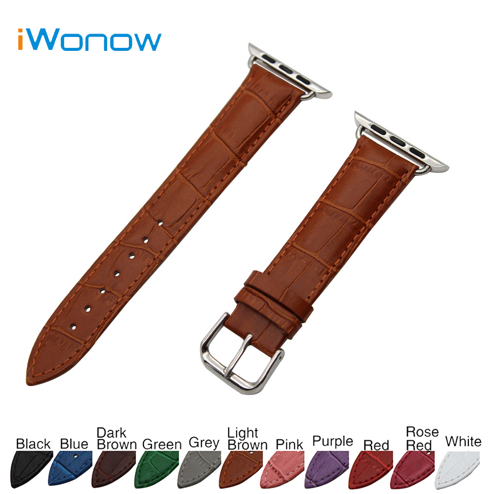 Croco Genuine Leather Watchband for 38mm 42mm iWatch Apple Watch / Sport / Edittion Band Strap Wrist Belt Bracelet with Adapters 6 colors luxury genuine leather watchband for apple watch sport iwatch 38mm 42mm watch wrist strap bracelect replacement