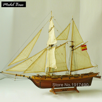 Wooden Ship Models Kits Scale 1/48 Model Ship Train Hobby Diy Educational Toy Wooden Model 3d Laser Cut Halcon 1840 (Spain)