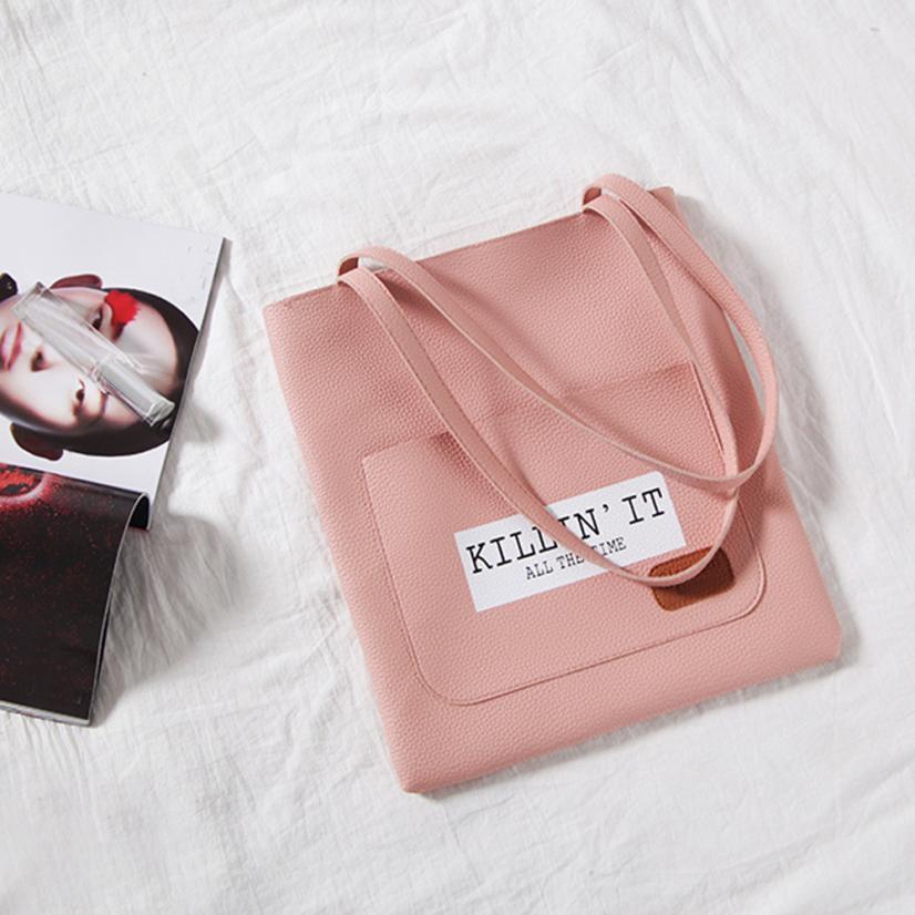 2018 новейшие женские модные буквы декоративные Сумка Женская сплошной цвет молнии сумка-мешок # F