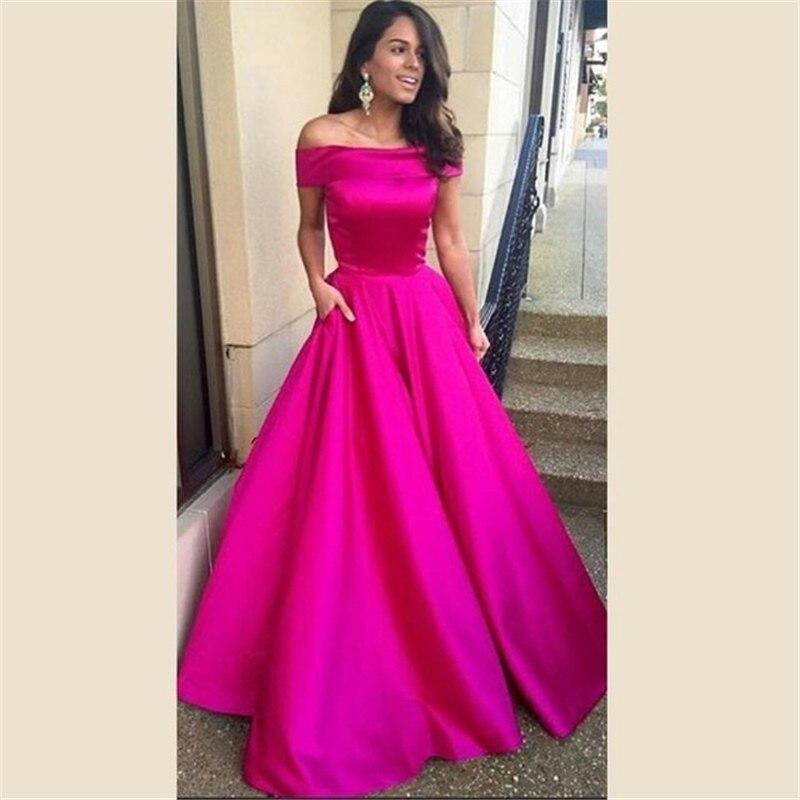 Pas cher Longue Robe de Soirée En Satin avec Col Bateau Femmes Une ligne De  Mode Celebrity Pageant Parti Robes Pas Cher 317537ee3fe