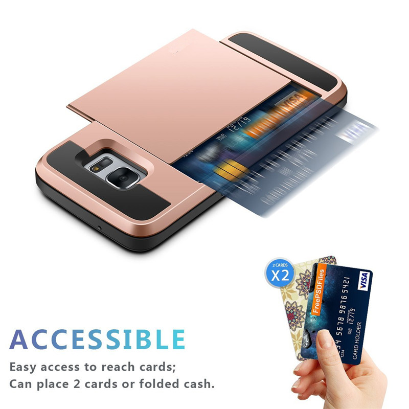 separation shoes 888f8 851ec US $3.49 30% OFF|S7/ S7edge Luxury Card Slider Wallet Card Holder Slot Case  for Samsung Galaxy S7 S 7 Edge Shockproof Hard Armor Protective Cover-in ...