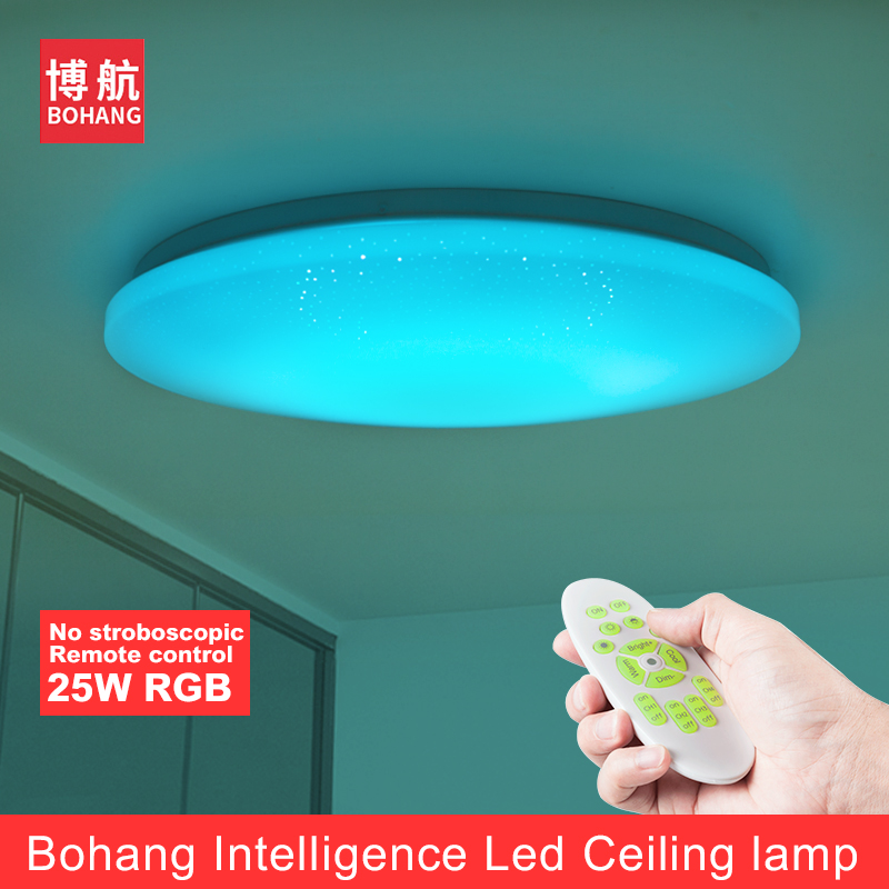 все цены на BOHANG 2018 NEW Modern LED Ceiling Light 25W Smart Remote Control Dimmable Color Changing Lamp For Livingroom Bedroom AC165-265V онлайн