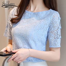 Модные кружевные женские рубашка блузки летние с коротким рукавом женские топы кружевная блузка женская рубашка блузки женские 0361 40