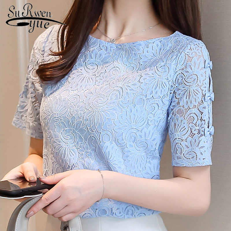 Fashion lace women blouses shirt summer short sleeve women tops hollow Lace blouse women shirt Female Blusas femininas 0361 40