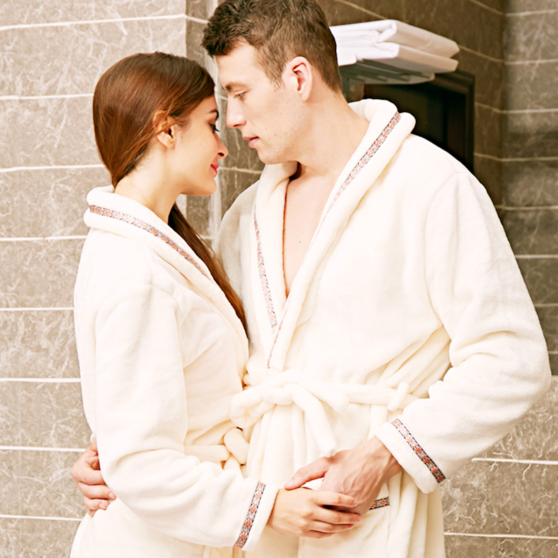 Detail Feedback Questions about flannel bath robe couple long sleeves thick  pajamas men and women hotel Shuipao home service autumn and winter bathrobes  on ... d12dba98f