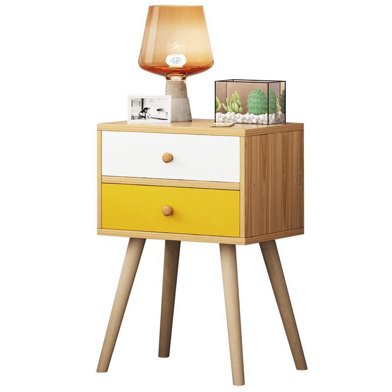 Nordic Colorful Wood Night Stand 2 Drawer Bedside End Table Bedroom Furniture Organizer Storage Basket Nightstands