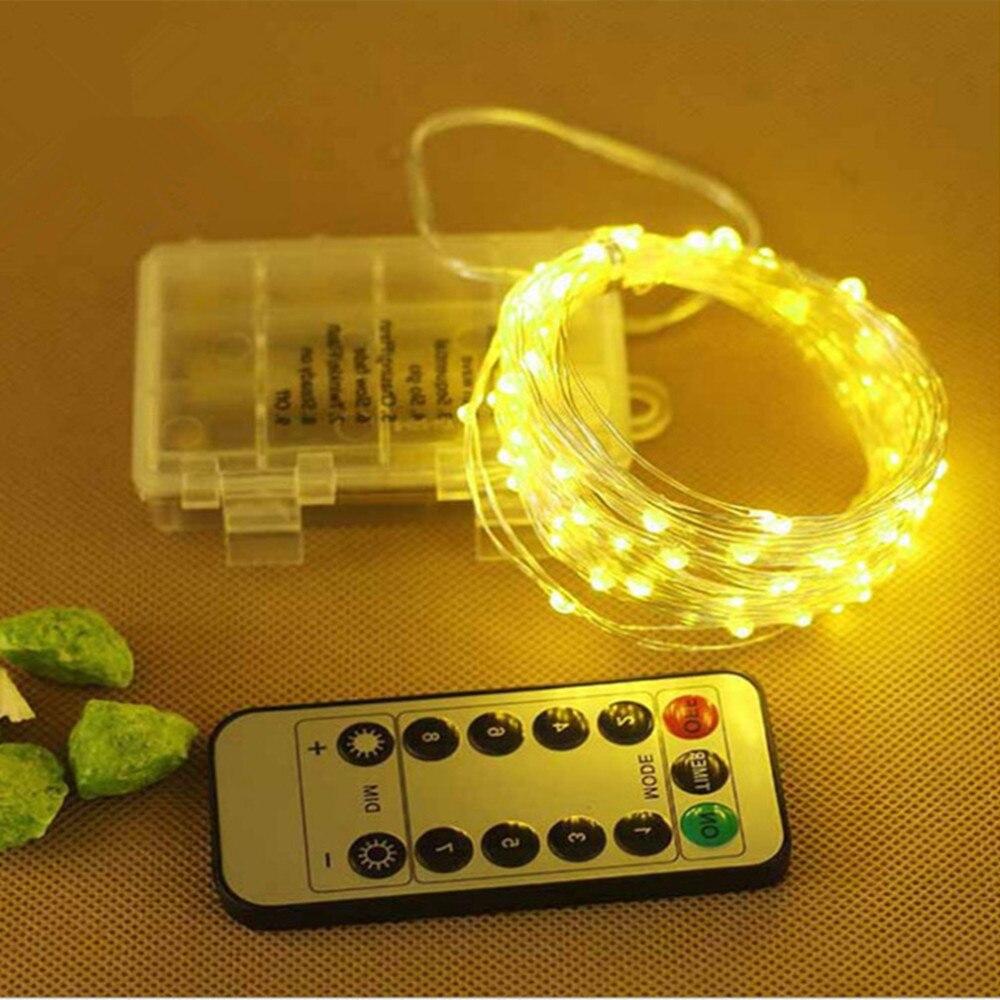Гирлянда, светодиодная, 10 м, 33 фута, медная, серебряная, с 8 режимами работы на батарейках|string lights|led string lightsgarland lamp | АлиЭкспресс