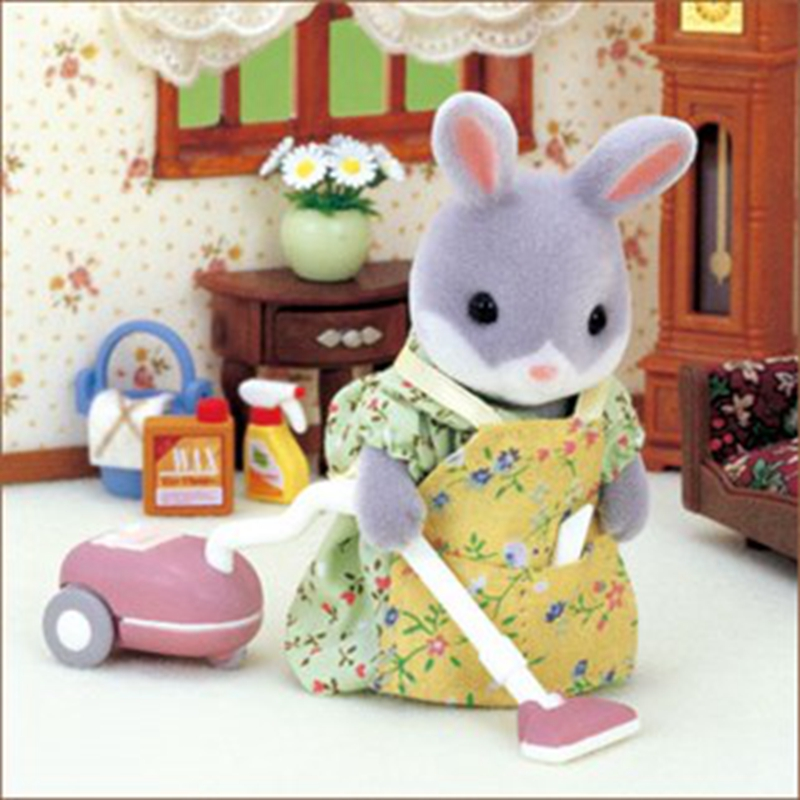 112 New Genuine Sylvanian Families Vacuum Cleaner Set Dollhouse Miniature Furniture Mini Cleaning Pretend Toys For Kids Toy