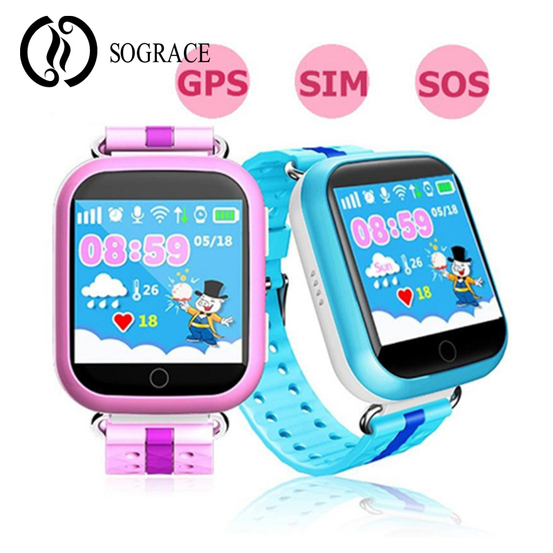 SOGRACE Chidren Kid Montre Wifi SOS Smart Watches q750 q100 GPS Smart Baby Device Tracker Watches For Boys And Girls 2018 Y30