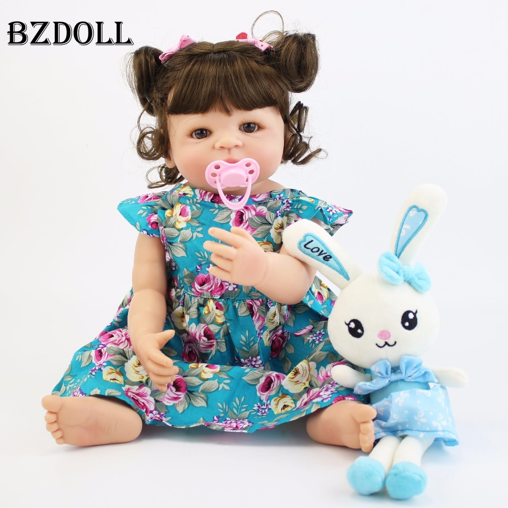 55cm Full Silicone Body Reborn Baby Doll Toy For Girl Vinyl Newborn Princess Babies Alive Bebe