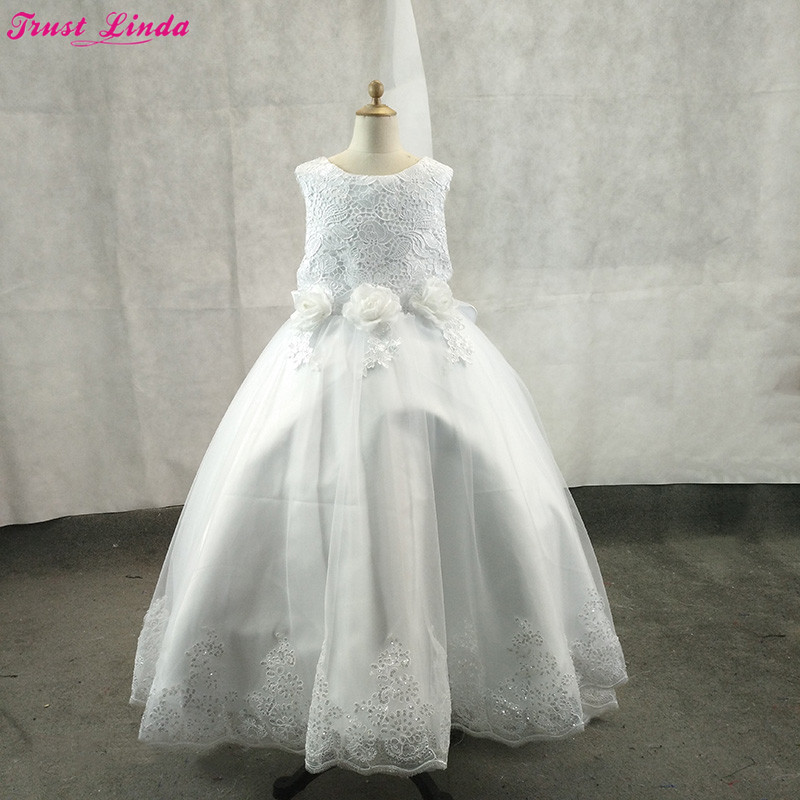 Linda Ball Gown   Flower     Girl     Dresses   Lace Appliques Kids Formal Wear 2018 Baby   Girl   Birthday Party Christmas Gowns Custom Made