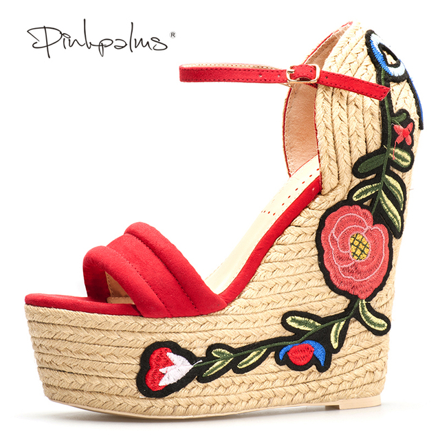 Pink Palms women summer Embroidered suede platform espadrille shoes flower applique supper high heel wedge elegant sandals