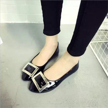 Big size women 's shoes 2016 new spring and summer single – pointed shoes shallow flat mouth with metal side buckle fashion work