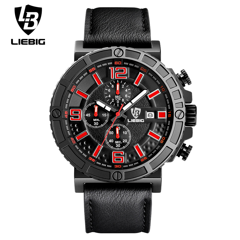 ФОТО LIEBIG 1016 Mens Fashion Quartz Watches Luxury Waterproof Leather Strap Auto Date Sport Military WristWatch Relogio Masculino