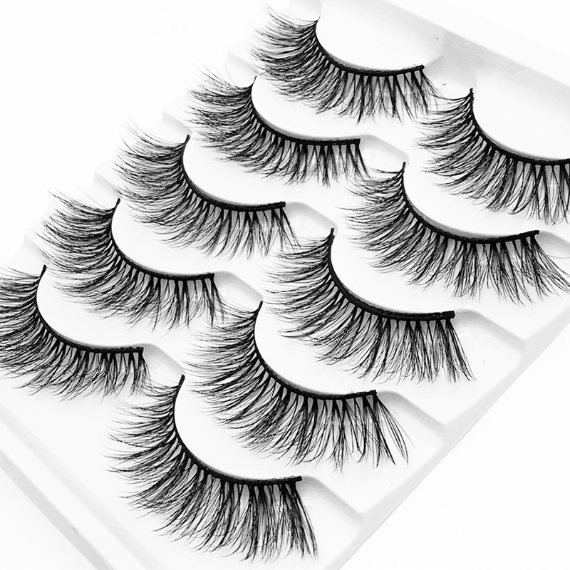 YOKPN Charm Mink Hair 3D Eyelashes False Eyelash 5 Pairs Natural Thick Volume Fake Eye Lashes Hand Made Faux Mink Lashes
