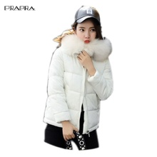 Prapra 2017 Women Coats Warm Faux Fur Coat Female Winter Clothing Hooded Slim Short Jackets Outerwear Korean Down Cotton Jacket