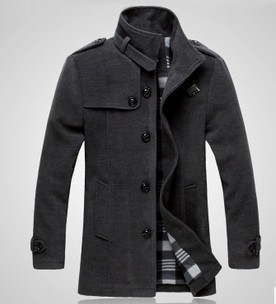 Novo Estilo de Outono e Inverno dos homens Jaqueta De Lã de Emenda magro fit Windproof Casacos Quente Brasão Mens Inverno Sobretudo Casacos Para homens