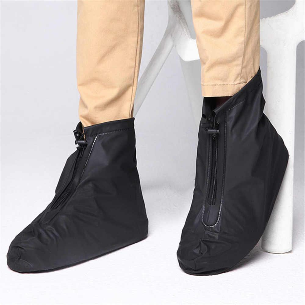 Dapat Digunakan Kembali Tahan Air Hujan Salju Penutup Sepatu Bersepeda Overshoes Penutup Hujan Zipper Sepatu Karet Musim Dingin Pria dan Wanita Non-Slip Boots
