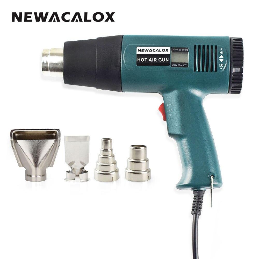 NEWACALOX 1800 Watt 220 V UE Plug Industrielle Électrique Pistolet À Air Chaud Thermorégulateur Thermorétractables Wrap Numérique Thermostat LCD DIY