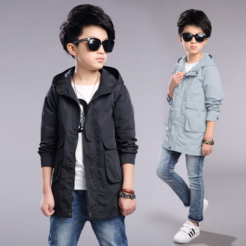 ФОТО Kids Boys Spring / Autumn 2017 new solid color jacket fashion baby boy clothing big virgin hooded coat 4/5/6/7/8/9/10/11/12/13