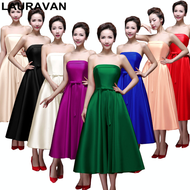 womens satin dark green blue strapless tea length bridesmaids party dresses  2018 purple bridesmaid dress short red free shipping f0898756c06b