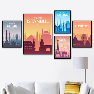 Image 2 - Paris Berlin Istanbul Prague florence Nordic Posters And Prints Wall Art Canvas Painting Wall Pictures For Living Room Decor